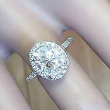 14k White Gold Oval Cut Diamond Engagement Ring Halo Natural Bridal Prong 1.70ct