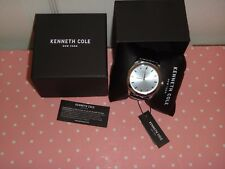 Kenneth Cole New York Men's Silver S/ Steel Watch Black Leather Strap 10031336