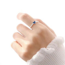Blue Heart Rings for Women Adjustable Small Heart Ring Party Wedding Rings