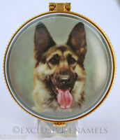 Alastor Enamels Alsatian Dog Round Hinged China Trinket Box