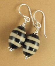 Tibetan zee / dzi bead earrings. Black & cream. Sterling silver 925.Handmade.