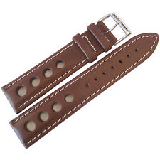 18mm EULIT Mens German Brown GT Racing Rallye Rally Leather Watch Band Strap