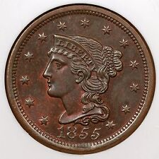1855 N-10 NGC MS 64 BN Proof Like Braided Hair Large Cent Coin 1c