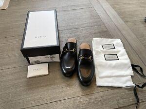 BNIB Gucci Women's Leather Horsebit Mules Black Size 38.5