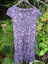 E-vie Grey tiered floral tieback tunic top dress Size 12/14/16-Purple hot pink