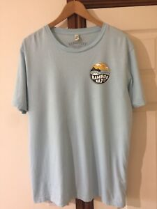 Bamboo Bay T Shirt 100% Certified Organic Cotton Size L Blue Surf Beach