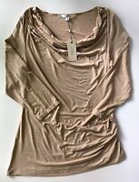 NWT Women's Studio M Tan Drape Neck 3/4 Sleeve Side Gathered Knit Tunic Top-XL