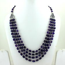 NATURAL BLUE FINE AMETHYST GEMSTONE BEADS BEAUTIFUL NECKLACE 60 GRAMS