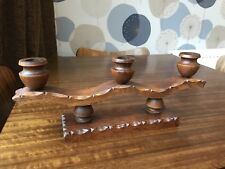 Arts And Crafts Large 36cm X 14cm Three Candle Wooden Holder British Tramp Art