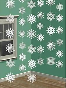 Christmas Party Ornament Shimmering Hanging Snow Flake String Decorations Frozen