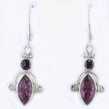 Topaz and Rhodolite Dangle Earrings Offerings Sajen 925 Sterling Silver Pink