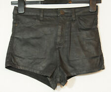 BLACK STRETCHY SHINNY CASUAL SHORTS LADIES PARTY MOTO TOPSHOP SIZE 8 W26 W66CM