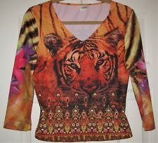 Women's Size 2 Love Amour Top Tiger Themed Long Sleeve