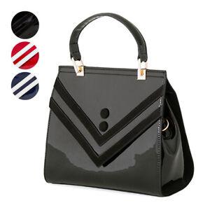 Banned 1950s Retro Vintage Classy Striped Glossy Womens Shoulder Bag Handbag