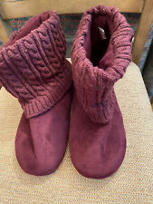 Unbranded 9 to 10 New wo Box Faux Suede Maroon Houseshoe Bootie w Knitted Top