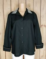 TIA DESIGNS Womens Size Large Long Sleeve Shirt Button Down Black Studded Top