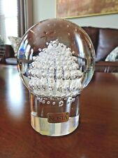Signed WARFF Kosta Crystal Art Glass BUBBLES Mushroom Pedestal Paperweight Label