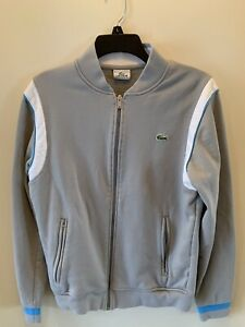 Lacoste Sport Men's Gray Cotton Sweatshirt Full Zip Jacket Size 3 Small