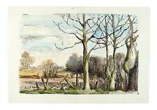 April Sunlight Signed Unframed Landscape Watercolour Painting M Harrison Retro
