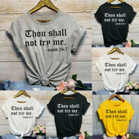 Women Fashion Casual Loose O-Neck Letter Print Short Sleeve T-Shirt Top Blouses