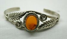 1990's Vintage Lovely Ornate Silver And Amber Torque Bangle
