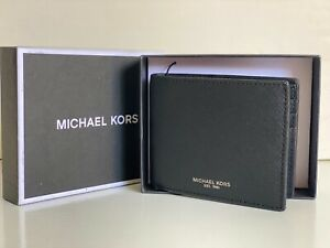 NEW! MICHAEL KORS MK ANDY BLACK SLIM BILLFOLD SLIMFOLD LEATHER WALLET $98 SALE