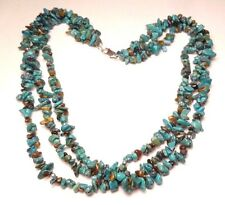 """SIGNED AIL TURQUOISE THREE STRAND BEAD NUGGET NECKLACE 16.5"""" STERLING SILVER 925"""