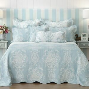 Bianca Florence Blue Bedspread Coverlet Set Single King Single Double Queen King