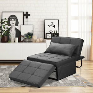 Convertible Chair Sofa Grey Folding Modern Guest Bed for Small Room Apartment UK