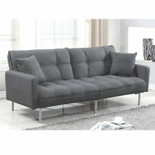 Casual Sofa Living Room Tufted Linen Splitback Sleeper Futon Couch, Dark Grey