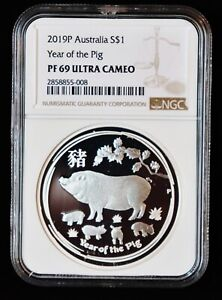 2019 ** Australian Silver $1 PROOF **Lunar Year of the Pig ** NGC PF69 UCAM **