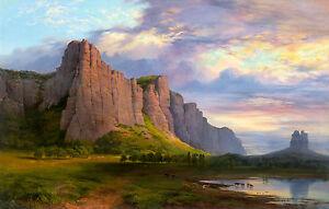 Nicholas Chevalier - Mount Arapiles and the Mitre Rock, Museum Canvas Print