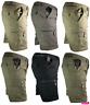 Mens Plain Elasticated Lightweight Shorts Cargo Combat Multi Pocket Cotton M-3XL