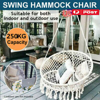 Hammock Chair Macrame Swing Handmade Knitted Hanging Cotton Rope Seat Chair