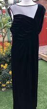 Ladies Alexon Formal Black Velvet Long Sleeveless Dress