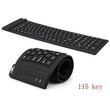 (EU) 115 Keys USB  Foldable  Keyboard Silicone Portable Waterproof Flexible