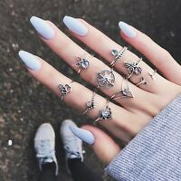 9pcs/set Mid Midi Above Knuckle Ring Band Gold Silver Tip Finger Stacking Hot