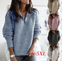 Sweater Pullover Womens Knitted Long Sleeve Sweatshirt Ladies Tops Jumper Zipper