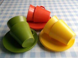 Vtg 1960s SENO Set 6 CUPS SAUCERS Orange Yellow Green Vintage PLASTIC Picnic war