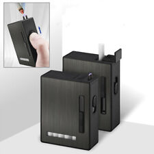 Electric Plasma Cigarette Lighter Usb Rechargeable Hold 20 Cigarettes Case Box