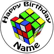 PERSONALIZZATO Cubo di Rubik 1980's glassa Topper per torte rotondo COMODO