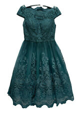 9911ff0f5e17 Chi Chi London Teal Lace Special Occasion Prom Tea Dress Vintage 1940s LOOK