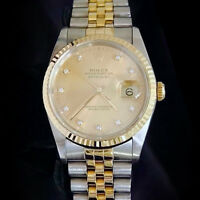 Mens Rolex Datejust Two-Tone 18k Gold and Steel Watch FACTORY DIAMOND Dial 16233