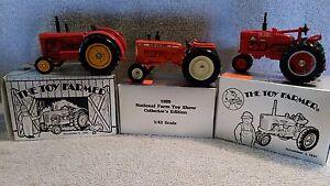 Lot of 3 Ertl NFTS  Massey-Harris 55, Allis Chalmers D19, Farmall M-TA Tractors