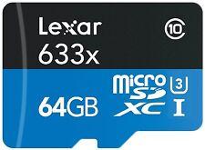 Lexar 633x 64GB TF microSDXC Micro SD SDXC UHS-I U3 Class 10 Memory Card 95MB/s
