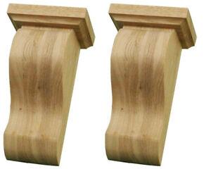 Hardwood Fireplace Corbels - Handmade Pair of Zen Brackets in Ash Wood - AS382