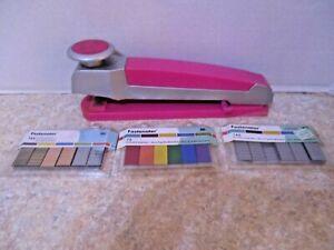 "EK Success Pink Desktop Ruler Fastenater Decorative Bar Stapler10"" w/3pks staple"