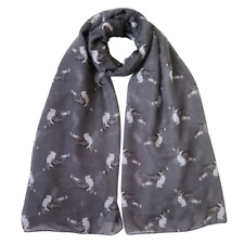More details for springer spaniel print ladies scarf grey & taupe lovely gift idea fast dispatch
