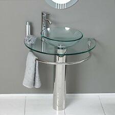 Bathroom Vanities LV-006 Glass VEssel Sink Pedestal Faucet and Pop up combo