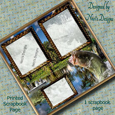One 12X12 Pre-Made Scrapbook Page - Bass Fishing - Large Bass